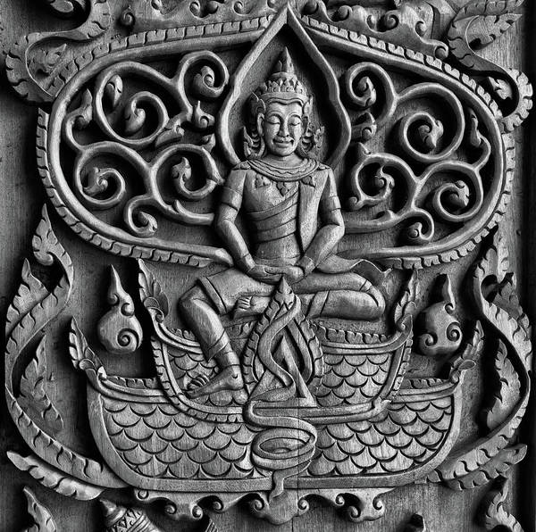 Photograph - Buddha Door Carving by Georgia Fowler