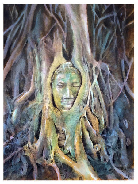 Wall Art - Painting - Buddha Head In Tree Roots by Wachira Kacharat