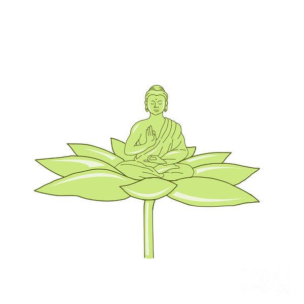 Gautama Digital Art - Buddha Sitting On Lotus Flower Drawing by Aloysius Patrimonio
