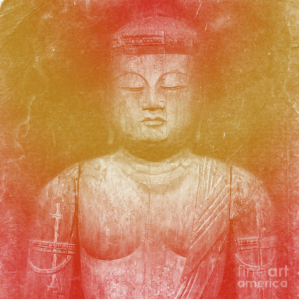 Museum Digital Art - Buddha Square Golden by Edward Fielding