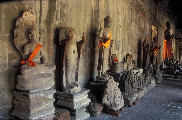 Cambodian Photograph - Buddha Statues, Angkor Wat, Cambodia by James Gritz