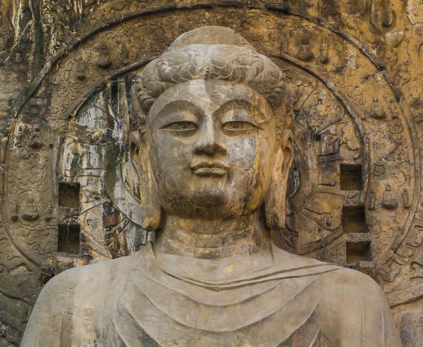 Grottos Photograph - Buddha Vairocana.  Longmen Grottoes by Luis Castaneda Inc.