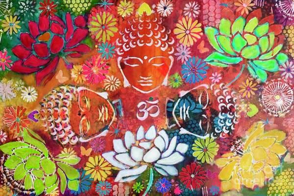 Mixed Media - Buddha With Lotuses  by Corina Stupu Thomas