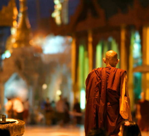 Shaved Head Photograph - Buddhist Monk In The Shwedagon Pag by Chantal