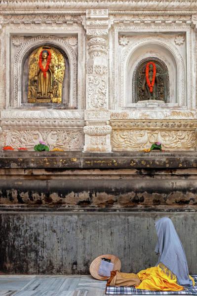 Real People Photograph - Buddhist Pilgrim Meditating At by Marji Lang