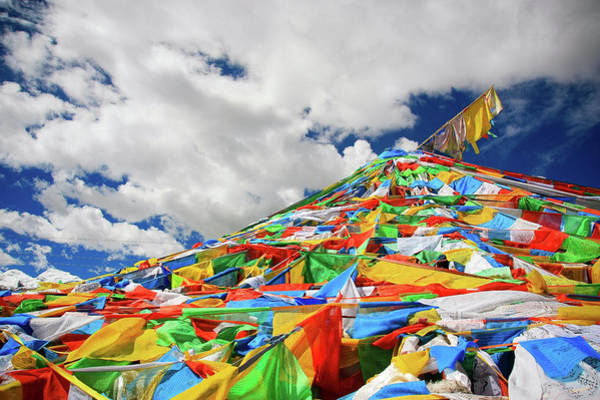 Buddhist Script Flag China Art Print