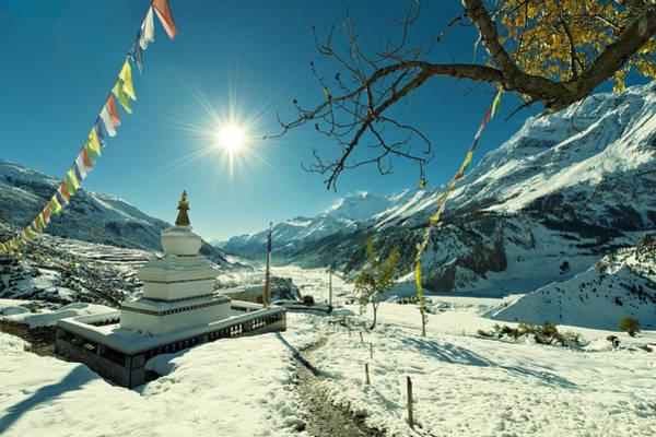 Wall Art - Photograph - Buddhist Stupa In Annapurna Region, Nepal by Ionut Anisca