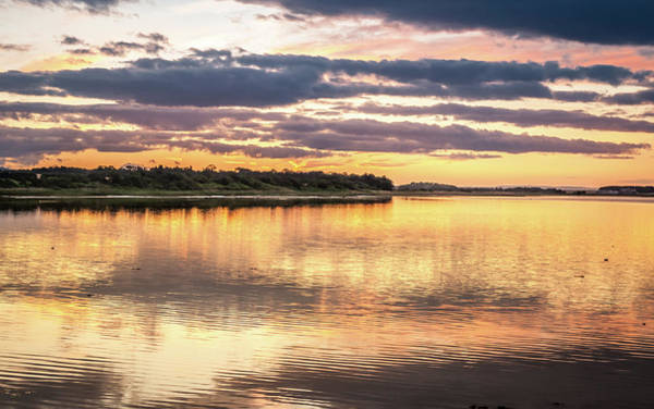 Preston Castle Photograph - Budle Bay Sunset At High Tide by Naylors Photography