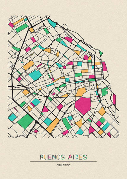 Wall Art - Drawing - Buenos Aires, Argentina City Map by Inspirowl Design