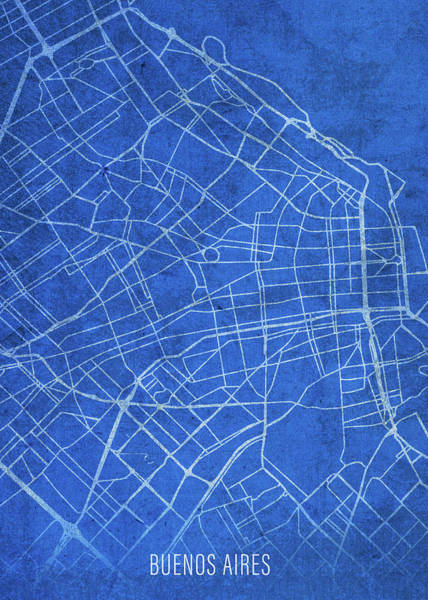 South America Mixed Media - Buenos Aires Argentina City Street Map Blueprints by Design Turnpike