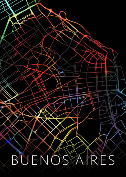South America Mixed Media - Buenos Aires Argentina City Street Map Watercolor Dark Mode by Design Turnpike
