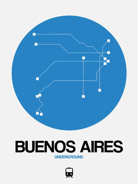 Wall Art - Digital Art - Buenos Aires Blue Subway Map by Naxart Studio