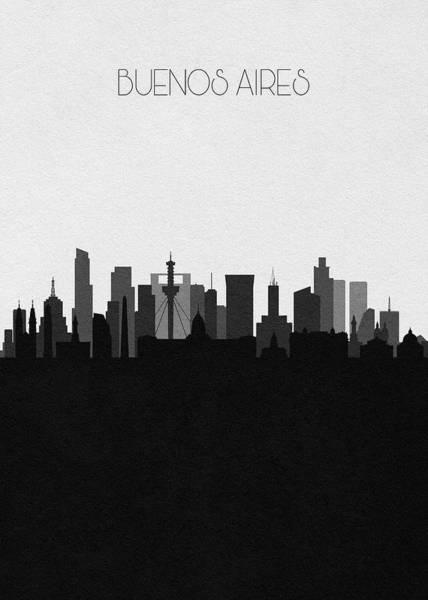 Digital Art - Buenos Aires Cityscape Art by Inspirowl Design