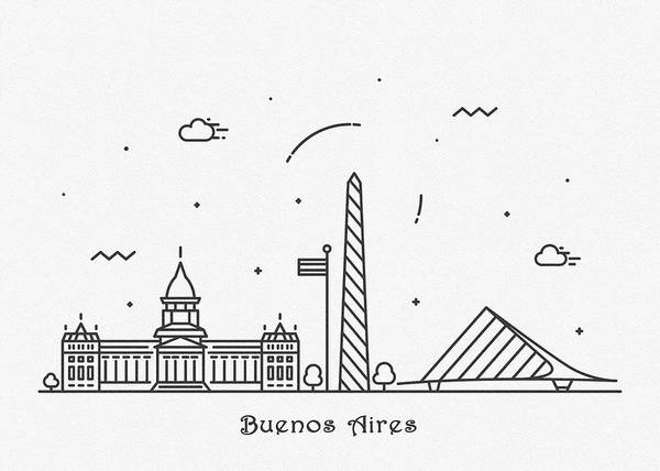 Landmark Center Drawing - Buenos Aires Cityscape Travel Poster by Inspirowl Design