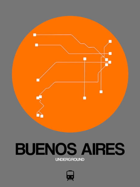 Wall Art - Digital Art - Buenos Aires Orange Subway Map by Naxart Studio
