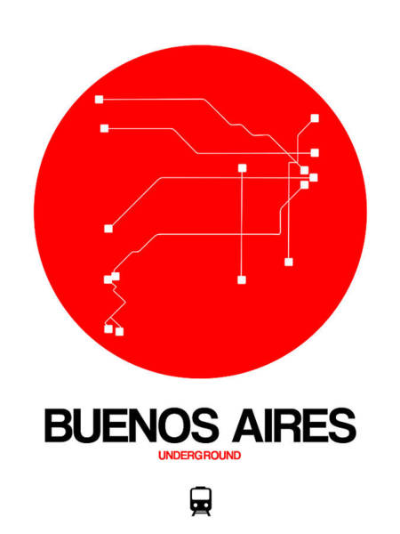 Wall Art - Digital Art - Buenos Aires Red Subway Map by Naxart Studio
