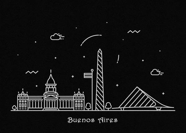 Wall Art - Drawing - Buenos Aires Skyline Travel Poster by Inspirowl Design