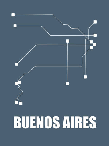 Wall Art - Digital Art - Buenos Aires Subway Map by Naxart Studio