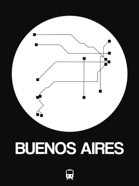 Wall Art - Digital Art - Buenos Aires White Subway Map by Naxart Studio