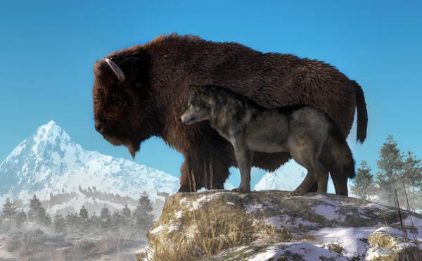 Digital Art - Buffalo And Wolf by Daniel Eskridge