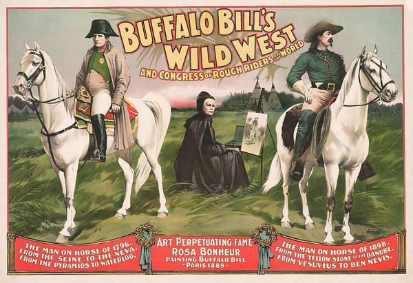 Buffalo Mixed Media - Buffalo Bill And Napoleon - Wild West Advertisement - 1896 by War Is Hell Store