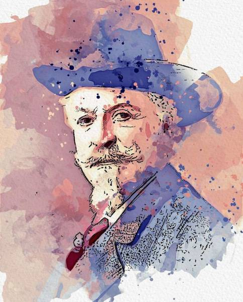 Painting - Buffalo Bill Cody Chicago 1911 Watercolor By Ahmet Asar by Ahmet Asar