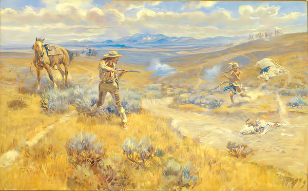 Painting - Buffalo Bill Duel With Yellowhand by Charles Russell