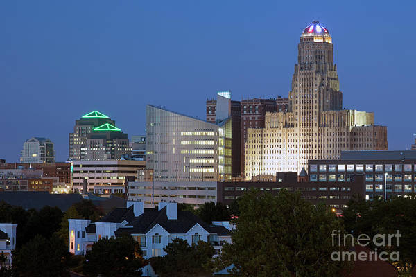 Wall Art - Photograph - Buffalo City Hall And Courthouse At Dusk by Bill Cobb