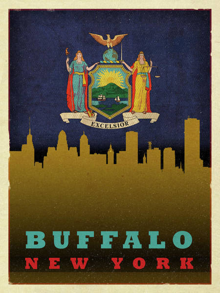 Buffalo Mixed Media - Buffalo City Skyline State Flag Of New York by Design Turnpike