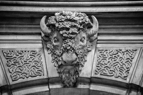 Wall Art - Photograph - Buffalo Fresco Inside Philadelphia City Hall In Black And White by Bill Cannon