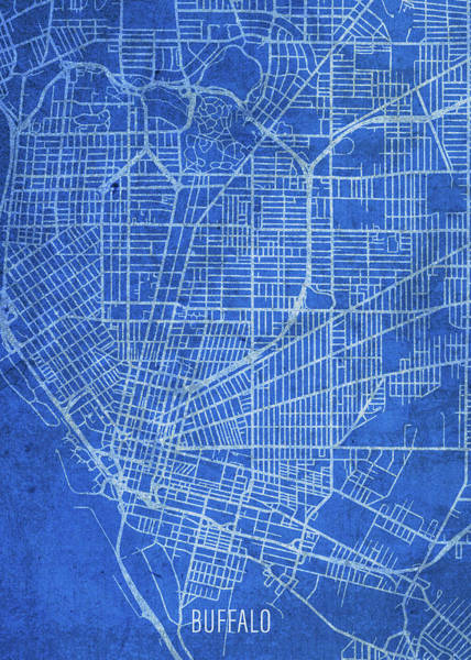 Wall Art - Mixed Media - Buffalo New York City Street Map Blueprints by Design Turnpike