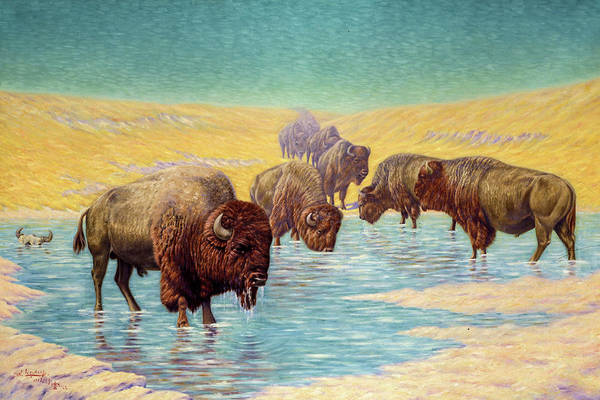 Wall Art - Painting - Buffalo Scene, 1922 by Emil W Lenders