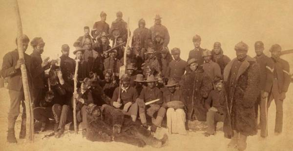 Wall Art - Painting - Buffalo Soldiers Of The 25th Infantry, Some Wearing Buffalo Robes, Ft. Keogh, Montana by Celestial Images