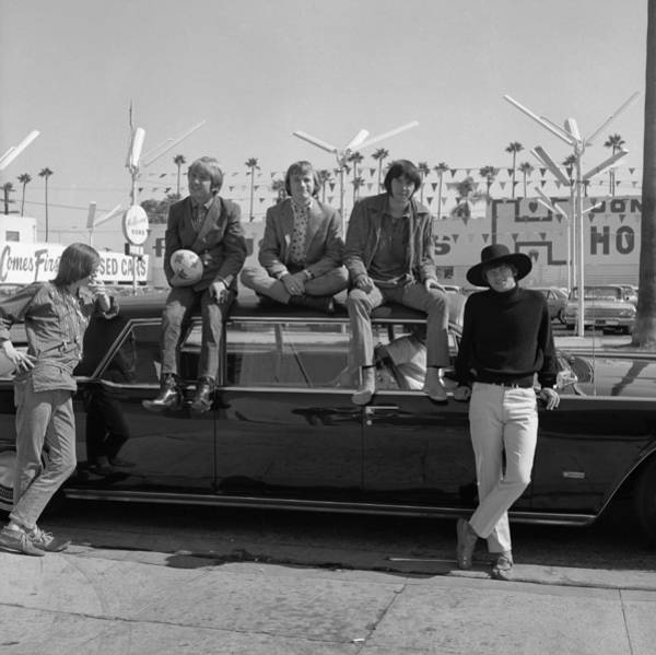 Neil Young Photograph - Buffalo Springfield On A Car by Michael Ochs Archives
