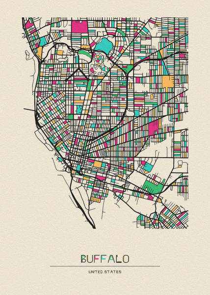 Wall Art - Drawing - Buffalo, United States City Map by Inspirowl Design