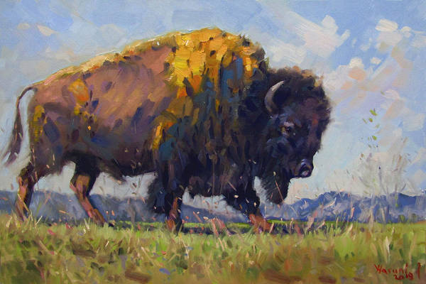 Wall Art - Painting - Buffalo by Ylli Haruni