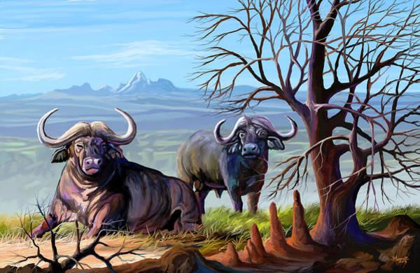 Uganda Painting - Buffaloes And The Mountain by Anthony Mwangi