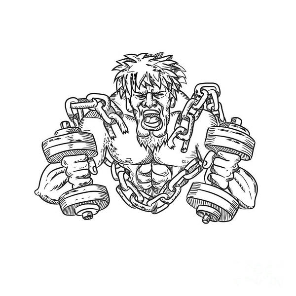 Wall Art - Digital Art - Buffed Athlete Dumbbells Breaking Free From Chains Drawing by Aloysius Patrimonio