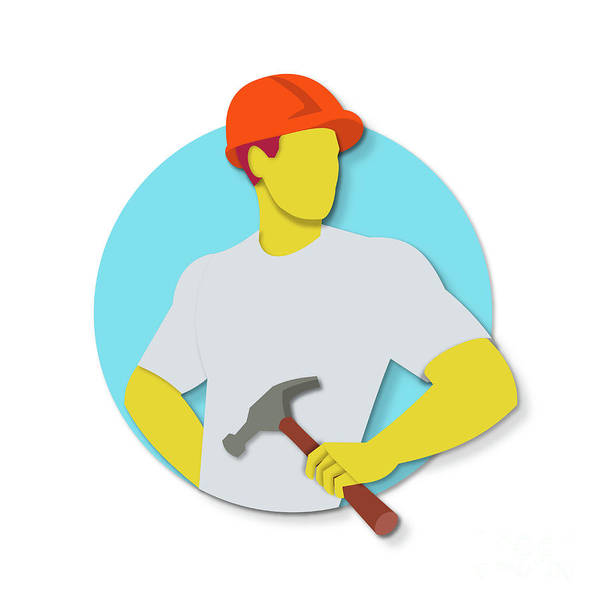 Wall Art - Digital Art - Builder Holding Hammer Paper Cut by Aloysius Patrimonio