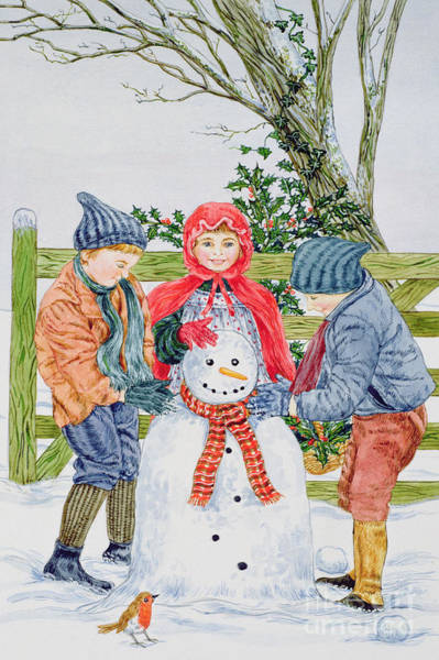 Wall Art - Painting - Building A Snowman  by Catherine Bradbury