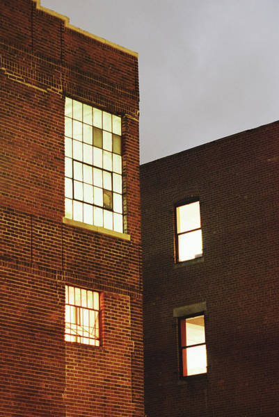 Warehouse Photograph - Building Exteriors With Illuminated by Jeff Spielman