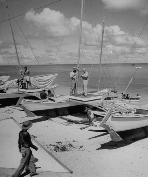 Outrigger Canoe Photograph - Building Outrigger Canoes For Bikini by Eliot Elisofon