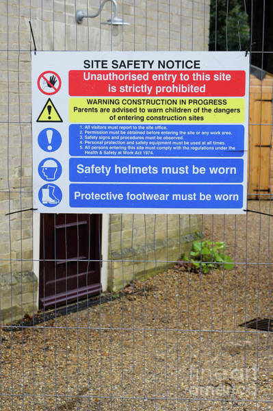 Wall Art - Photograph - Building Site Sign by Tom Gowanlock