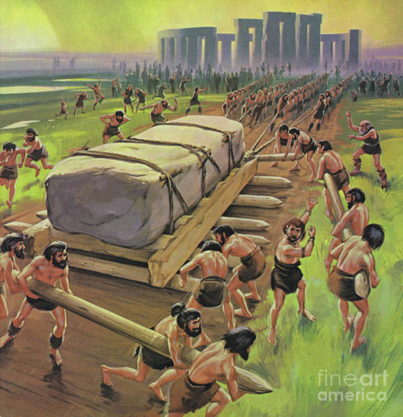 Wall Art - Painting - Building Stonehenge by Angus McBride