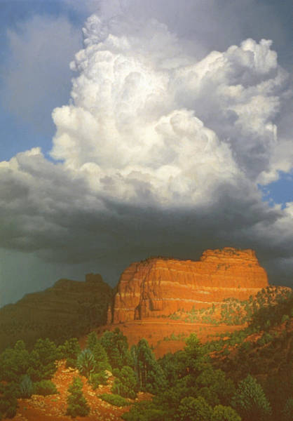 Oak Creek Canyon Painting - Building Storm by John Cogan