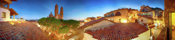 Wall Art - Photograph - Buildings In City At Dusk, Taxco by Panoramic Images