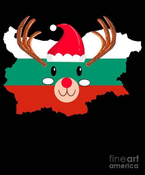 Ugly Digital Art - Bulgaria Christmas Hat Antler Red Nose Reindeer by TeeQueen2603