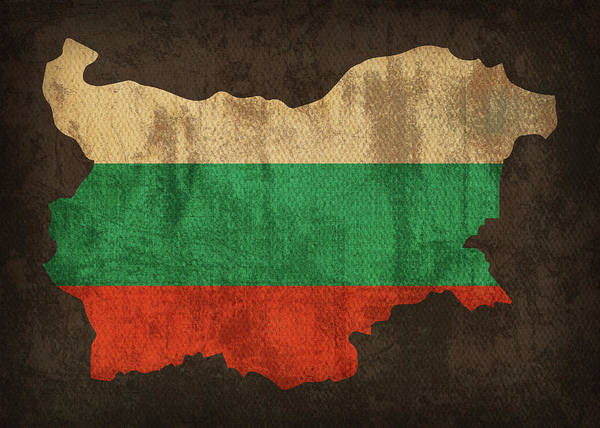 Wall Art - Mixed Media - Bulgaria Country Flag Map by Design Turnpike