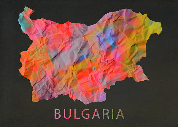 Wall Art - Mixed Media - Bulgaria Tie Dye Colorful Country Map by Design Turnpike