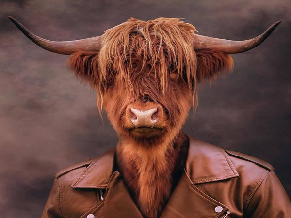 Wall Art - Digital Art - Bull Portrait by Mihaela Pater